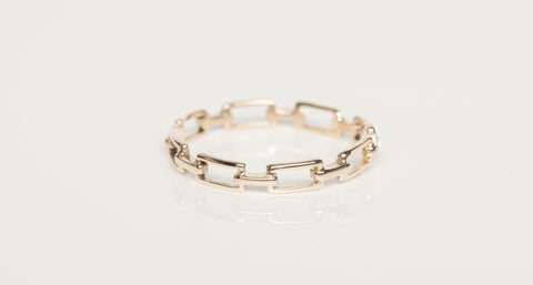 14K Gold Link Stacking Ring Band BONY LEVY Size 6.5