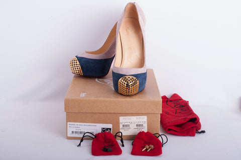 Authentic CHRISTIAN LOUBOUTIN Maggie Two Tone Suede Platform Heels