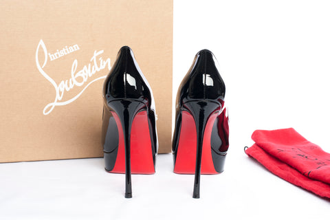 Authentic New CHRISTIAN LOUBOUTIN Fetish Peep Toe Patent Leather Heels
