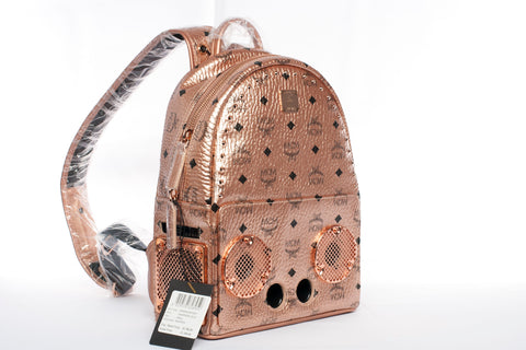 MCM Studded Wizpak Speaker Backpack Champagne Gold Visetos!