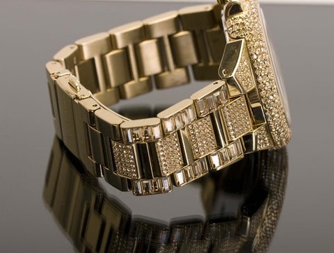 Side of Michael Kors Camille Pave Gold-Tone Watch
