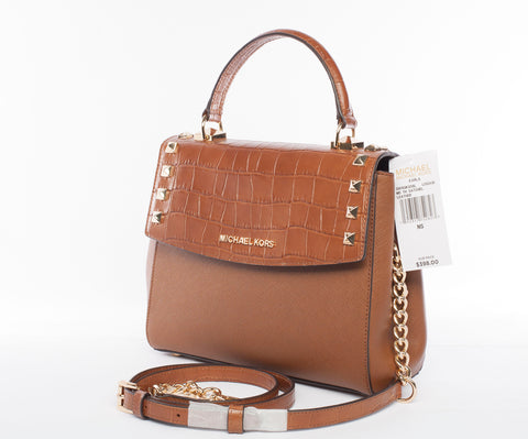 Michael Kors Karla Medium Leather Satchel Crossbody Handbag