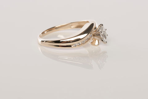 14k Yellow Gold .29tcw Natural Marquise Diamond Engagement Ring Size 7.5