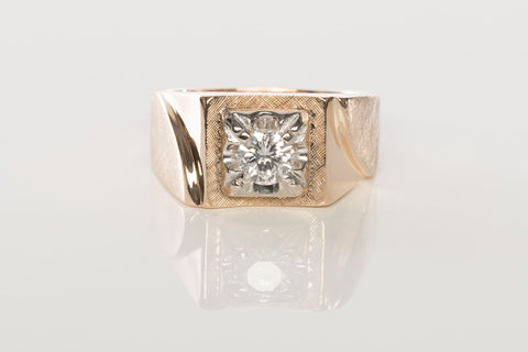 Gents 14K Yellow Gold .59CT Solitaire Diamond Ring