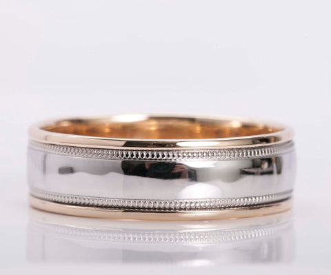 Men's 14k Two Tone Gold Band Size 12
