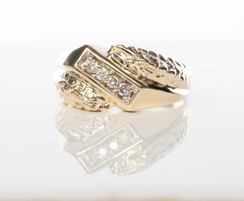 Gents 10K Gold and Diamond Ring Band