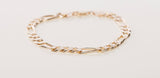 "14k Figaro Yellow 6.5mm Gold Bracelet 15.2 grams 7.5"" Long"
