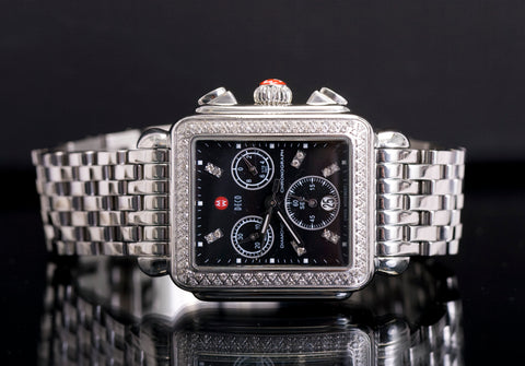michele diamond deco chronograph watch