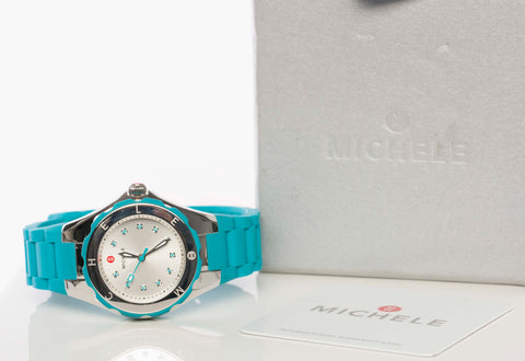 Authentic MICHELE Watch Tahitian Jelly Bean Turquoise MWW12P000005