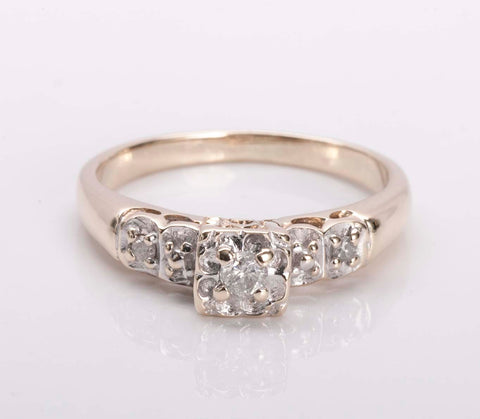 Natural Diamond Mid Century 14k Yellow Gold Diamond Engagement Ring