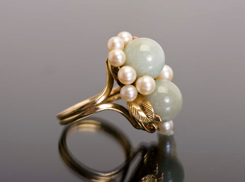 Vintage MIng's Jade and Pearl Ring