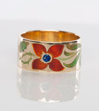 Unique 18k Yellow Gold Art Nouvou Flower Enamel Ring Size 6.5