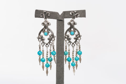 Native American Q.T. Sterling & Turquoise Dangle Earrings
