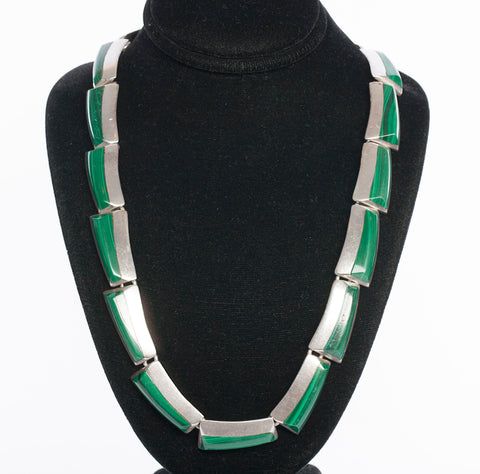 Sterling Silver Mexican Malachite Necklace