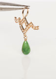 Sweet 14k Yellow Gold Seed Pearl and Malachite Art Nouveau