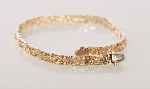 14k Yellow Gold Nugget Link Bracelet