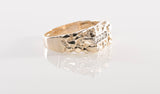 10K Yellow Gold Nugget Ring with Diamonds
