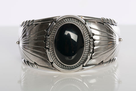 Vintage L. James Native American Sterling Silver Onyx Cuff Bracelet