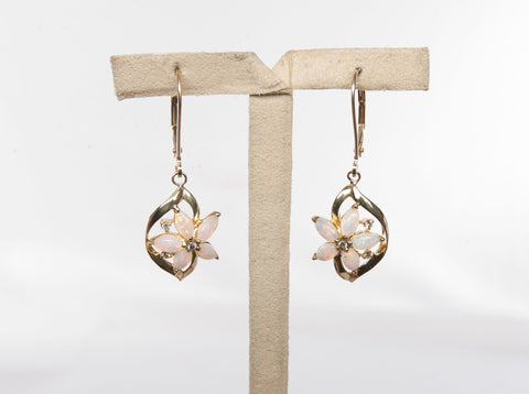 Sweet Opal 14k Yellow Gold Diamond Earrings