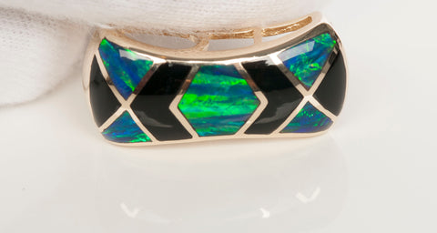 14k Yellow Gold Opal and Black Onyx Pendant