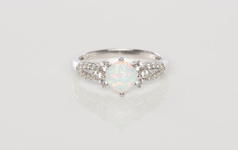Gorgeous Opal & White Sapphire Ladies Ring