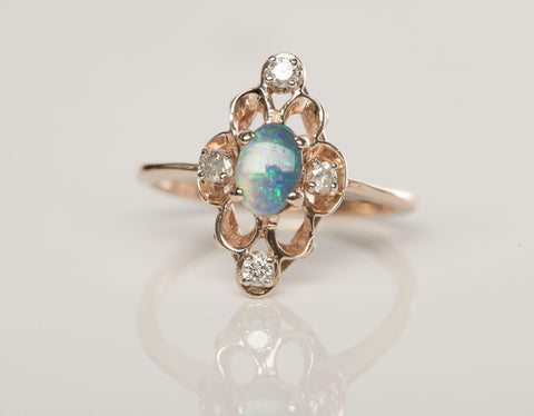 Ladies 14KY Opal Diamond .08 TCW Ladies Ring Size 6