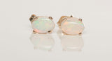 Sweet Dainty 14k Yellow Gold Opal Stud Earrings
