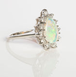 14k White Gold Diamond and Ethiopian Opal Ring