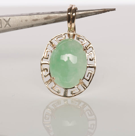 14K Yellow Gold & Jade Cabochon Enhancer Pendant