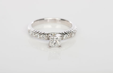 Platinum 7/8CTW Princess Cut Diamond Engagement Ring