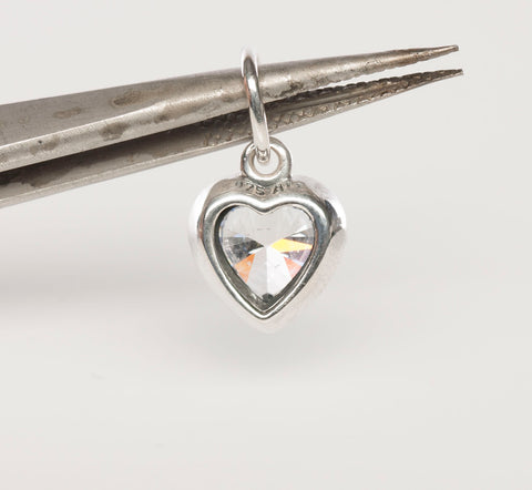 PANDORA Halo Heart Cubic Zirconia Pendant / Charm in Sterling Silver