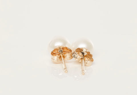 14K Yellow Gold White Pearl Stud Earrings