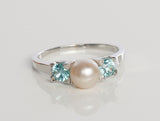 Diamond and Blue Zircon Pearl Ring