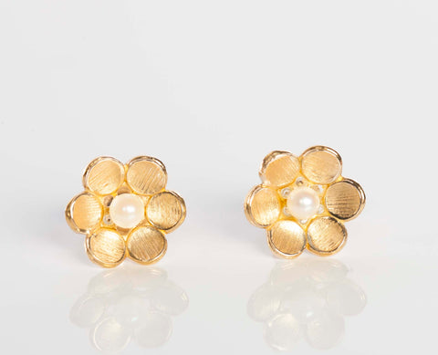 14K Yellow Gold Flower and Pearl Stud Earrings