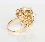 14k Yellow Gold Pearl Cluster Cocktail Ring