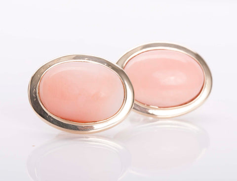 Coral Oval Cut Earrings 14k Yellow Gold
