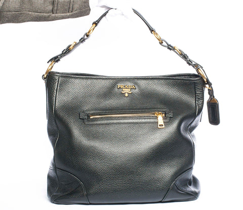 Authentic PRADA Black Leather Front Zip Pocket Vitello Daino Medium Hobo Shoulder Bag