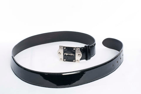 Authentic Prada Black Patent Leather Logo Belt