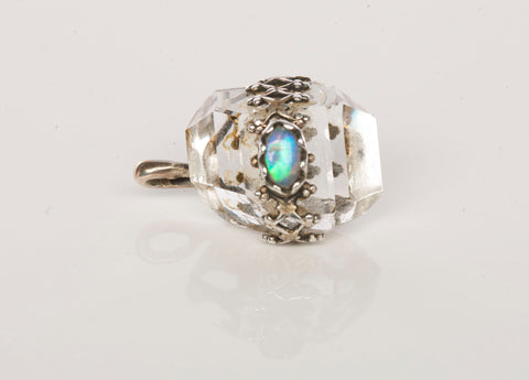 925 Sterling Silver Quartz and Opal Pendant