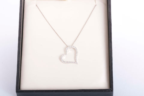 5eed9d46df5c Roberto Coin 18k White Gold Diamond Heart Necklace