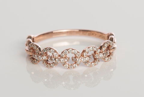 10K Rose Gold and Diamond Circle Interlock Band