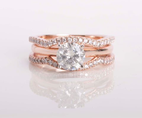 1.04 ct Natural Brilliant cut Diamond 14k Rose Gold Engagement Ring Sz 5.5