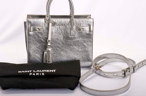 Auth Saint Laurent Nano Sac De Jour Metallic Leather Crossbody