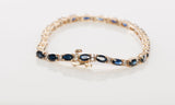 14k Yellow Gold Sapphire Diamond Tennis bracelet Size 7""