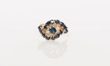 Vintage 14k Yellow Gold Diamond Sapphire Cluster Ring Size 5.5