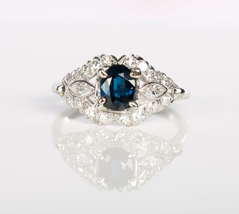 Vintage Natural Sapphire & Diamond Ring in Platinum