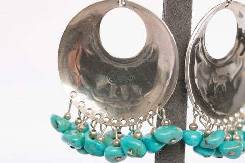Sterling Silver Southwest Native American Turquoise Dangle Earrings