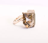 14k Yellow Gold Cocktail ring 15ct Smoky Quartz Size 6