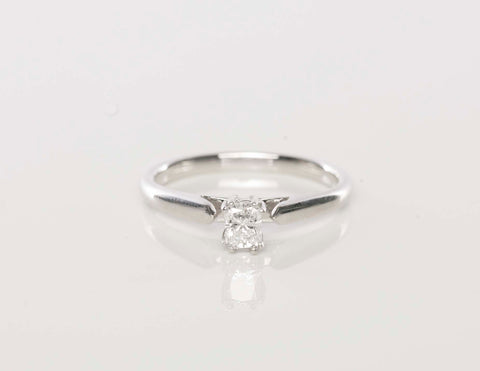 Engagement Ring .29ct Radiant Cut Solitare 14k White Gold