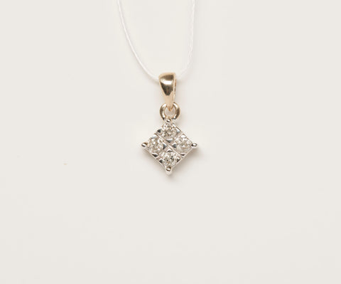 Princess Cut Diamond 10KY Pendant .12 TCW